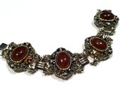VICTORIAN Revival Cabochon Carnelian Red Brown CHUNKY Wide Quality Link Panel Bracelet Vintage Jewelry artedellamoda talkingfashion