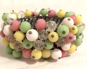 JAPAN signed marked EXPANDABLE Pastel Pink Yellow Green Translucent Crystal plastic elastic bangle bracelet cuff Authentic Vintage Jewelry
