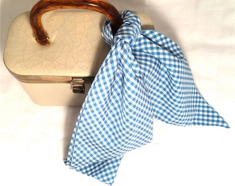 GINGHAM Pretty Soft BLUE Long Scarf Headpiece RETRO Statement Accessory Authentic Vintage Accessories Mad Men 60s era great talkingfashion