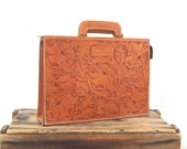 Vintage Rugged Tooled And Tan Leather Satchel Briefcase