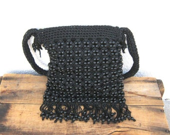 SALE Vintage Hippy Boho Black Macrame Beaded Fringed Shoulder Bag