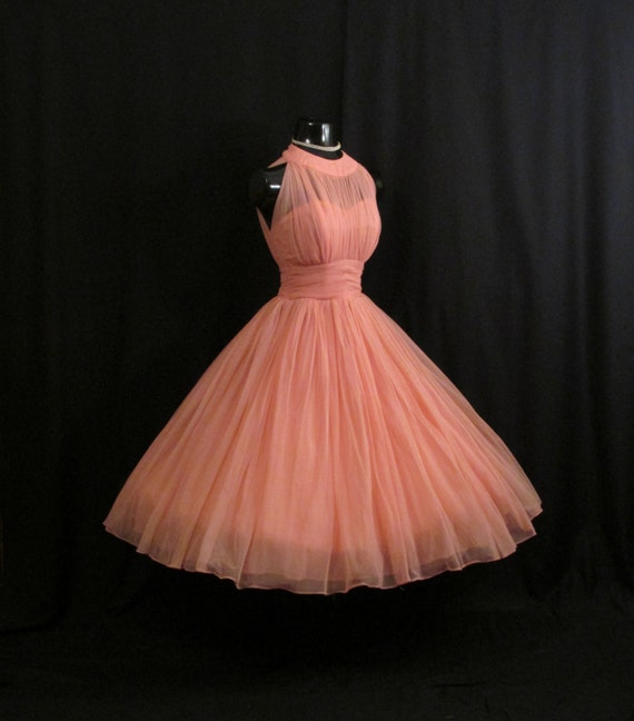 Reserved Vintage 1950S 50S Bombshell Halter Coral Pink-6651