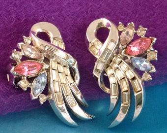 Vintage Crown Trifari Earrings, Alfred Philippe Rhinestone Clip ons,1953