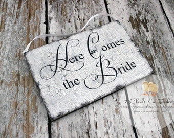 Here Comes The Bride Sign, Photo Props, Chair Signs, Vintage Style Wedding Signs