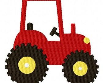 Red Tractor Farm Machine Embroidery Design // Joyful Stitches
