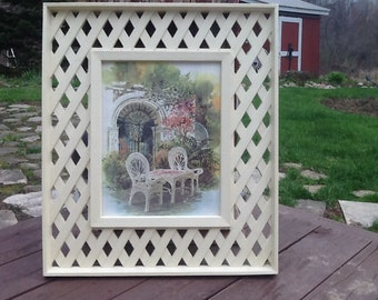 Vintage Homco Burwood Lattice Framed Picture / Garden Picture / Patio Picture / Three Season Room Decor / Beach house decor