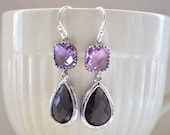 Bridesmaid Purple amethyst Earrings and lavender  Briolette Framed Glass Sterling Silver