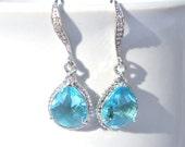 Bridesmaid Aquamarine Earrings Briolette Framed Glass Rhinestone Set of 1 2 3 4 5 6 7 8 9 10 11 12