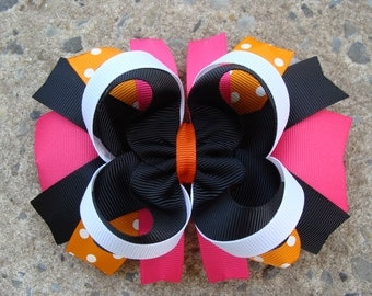 Pink Orange Green and Black Large Boutique Stacked Hair Bows Hair Clip