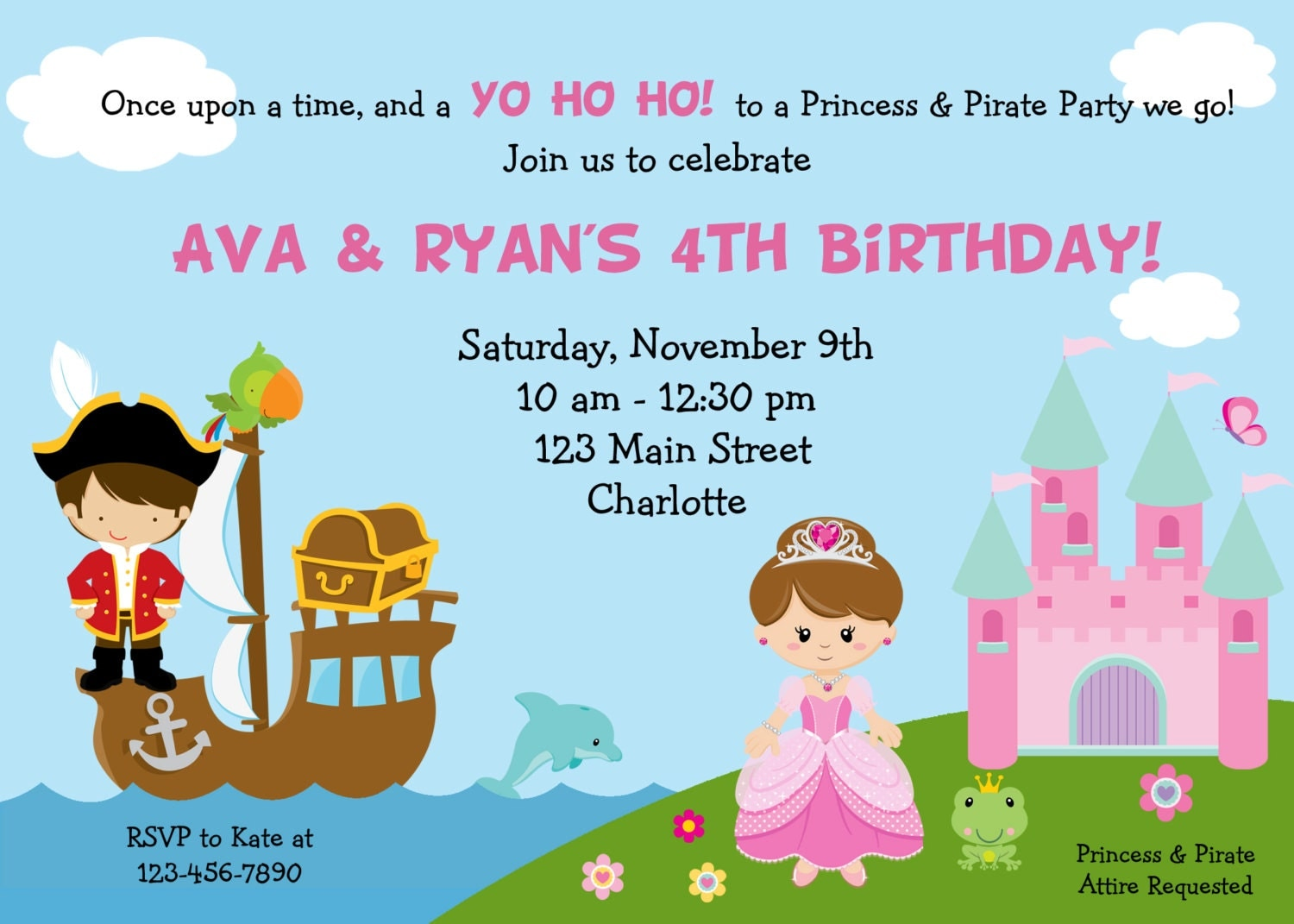 Pirate and Princess Birthday Party invitation Pirates and