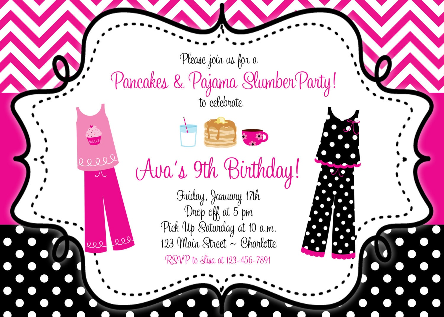 cr pes et pyjama party anniversaire invitation soir e pyjama. Black Bedroom Furniture Sets. Home Design Ideas