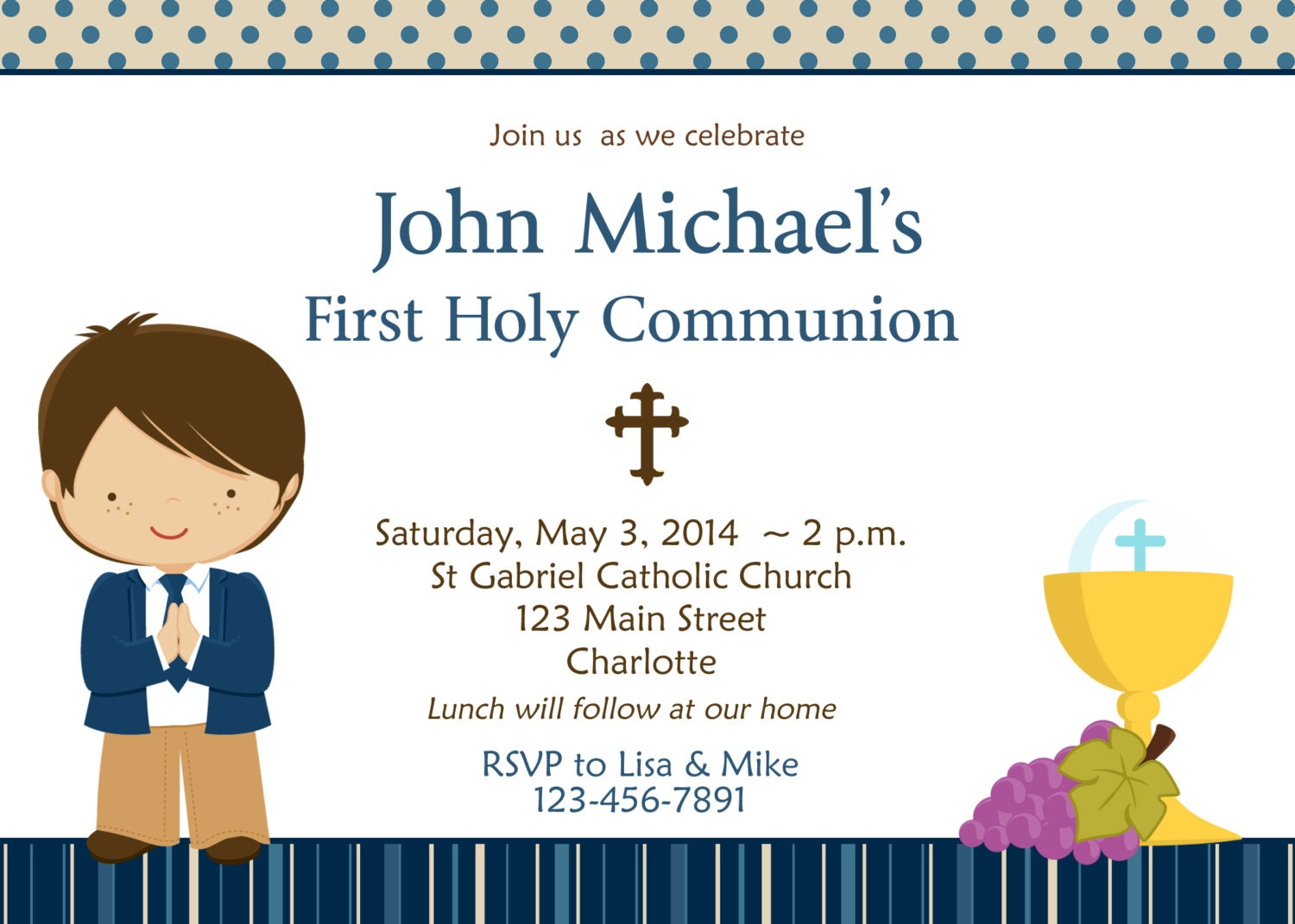 First Holy Communion Invitation Boys First Communion – Invitation Cards for First Holy Communion