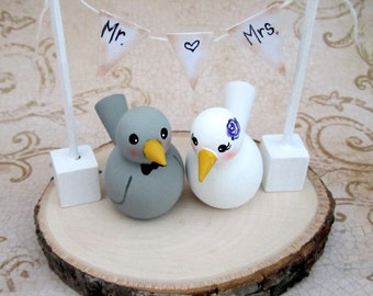 Love Birds Wedding Cake Topper / Custom Painted Wood birds with Plaque and Banner