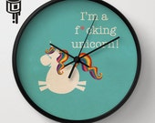 Unicorn Rainbow MATURE Clock Housewares Kitchen Retro Unicorn Artwork by Lucy Dynamite