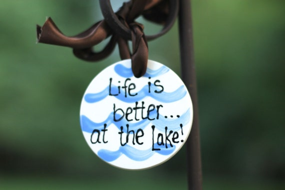 Lake House, Go jump in the lake, on lake time, lake house owner, lake friends, hand painted , ceramic, ornament