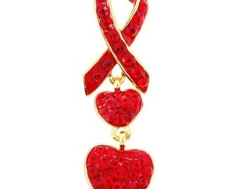 Red Ribbon Crystal Lapel Pin 1012483