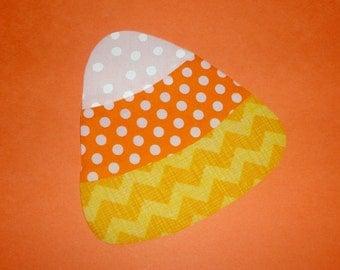 Iron On Applique Yellow Chevron Stripe Orange And White Polka Dot Halloween CANDY CORN