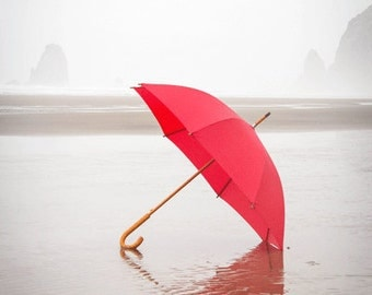 Beach Photography, Red Umbrella, Red Umbrella Photograph, RED, Summer Photograph, Spring Rain, Cool, Misty, Fog, Beach, Cannon Beach Oregon