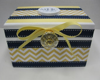 Newlywed Bridal Shower RECIPE BOX- Navy Blue with Yellow Chevron