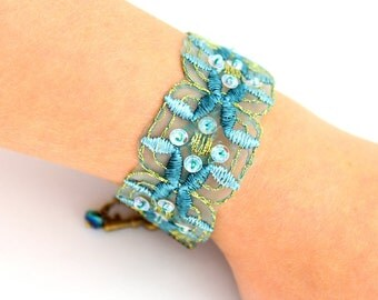 Blue Green Ribbon Bracelet with brass key and touches of sparkle - Sea Green Trim Bracelet