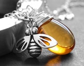 Honeybee Necklace,  Yellow Glass Wire Wrapped Pendant, Amber Czech Glass, Sterling Silver Honeybee Charm, Nature Jewelry