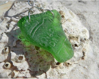Surf Tumbled Beach Glass Necklace ~ Vintage Canada Dry Ginger Ale Shard