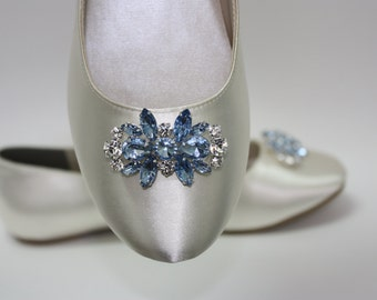 Wedding Shoes - Ballet Flats - Wedding Flats - Blue Crystals - Something Blue Shoes - Wedding Shoes By Parisxox - Choose From 100 Colors