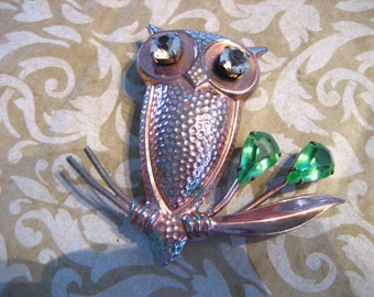 Vintage Large Sterling with Copper Owl on Branch Brooch with Rhinestones