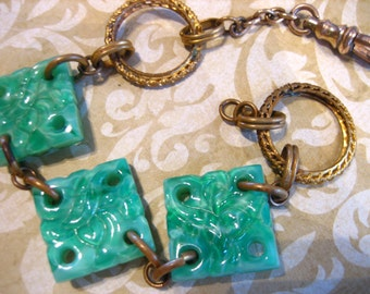 Vintage Ornate Green Art Glass Pocket Watch Chain Fob