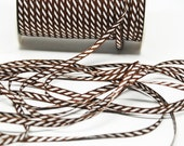 Solid Diagonal Stripe Ribbon -- 1/8 inch -- Chocolate Brown White Stripe