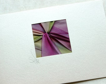 Note Cards,  5 Blank Handmade Cards, Hand-Dyed Silk Twist, Exquisite Brilliant Colors, Magenta and Moss, Enclosure, Gift Card, Note Papers