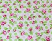 """LAMINATED Cotton  - Pink Polka Dot Rose, 56"""" Wide, BPA & PVC Free"""