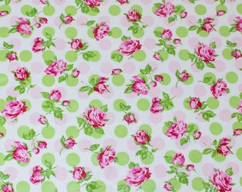 "LAMINATED Cotton  - Pink Polka Dot Rose, 56"" Wide, BPA & PVC Free"