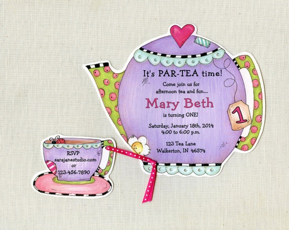 Personalized tea party invitations teapot by artfullyinvited for Morning tea invitation template free