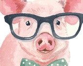 Pig Watercolor PRINT - Piglet Illustration, Hipster Glasses, Nerd Pig, 8x10 Painting Print