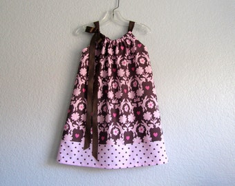 Girls Chocolate Brown and Pink Pillowcase Dress - Pink Poodles and Hearts - Girls Brown Sun Dress - Size 12m,18m, 2T, 3T, 4T, 5, 6, 8, or 10