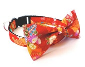 3 colors to choose from, Pet Dog cat Bow tie Collar Japanese Kimono dog collar, kimono cat collar, kimono pet collar, japanese dog collar