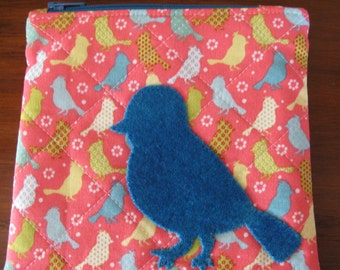 Zipper Bag, Coin purse size, Small Bird in Wool Applique
