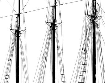 Ships Masts Boat Photography Coastal/Nautical Fine Art Wall Print 24x36 Black & White Pirate Ship Tall Sails Minimalist Sailor Ropes Rigging