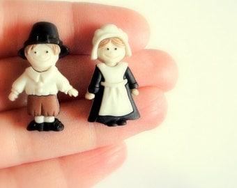 Thanksgiving Earrings. Pilgrim Earrings.