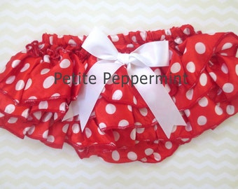 Baby Bloomer, Baby Diaper Cover, Photo Prop, Red Polka Dot Bloomer,Baby Bloomer Girl, Baby Girl Bloomer