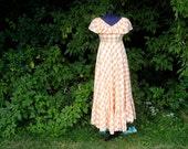 Vintage Gingham Dress // Peach Dress // 1970s Plaid Country Western Dress // Prom Alternative Wedding Dress // Pageant Full Length Dress