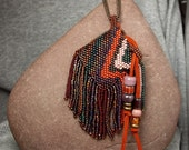 Mini amulet bag beadwork necklace fancy western fringe chevron stripes