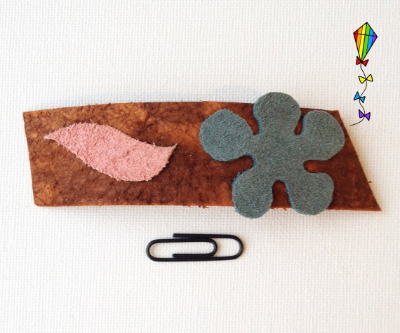 Slim Medium Hair Clip made from Reclaimed Leather - Blue Daisy Design