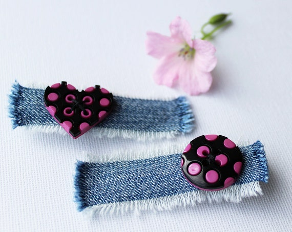Hair Clip Set Black and Pink Heart and Circle Spotty Hair Clips. Pair of hot pink hair accessories. Cute hair accessory - Stocking Fillers