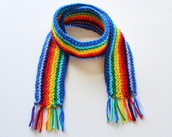 Blue Rainbow Pixie Scarf - Rainbow Kids' Scarf - Colourful Child's Knitted Rainbow Scarf