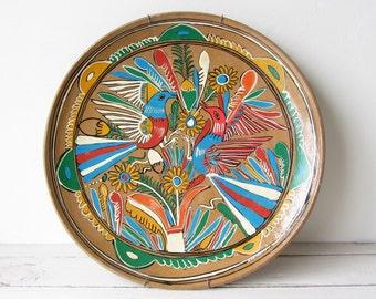 Large Vintage Handpainted Clay Plate