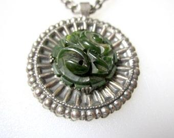 Vintage Green Bakelite Necklace Carved Medallion Pendant Silver Mounting
