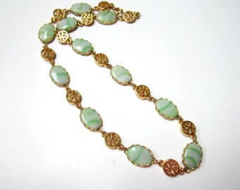 """Vintage Green Glass Necklace Striped Gold 15"""" Asian Symbols Necklace Good Luck Choker"""