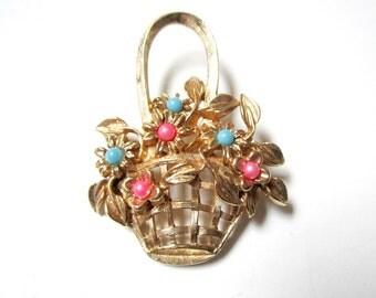 Flower Basket Pin Pink Blue Brooch Vintage Spring Jewelry